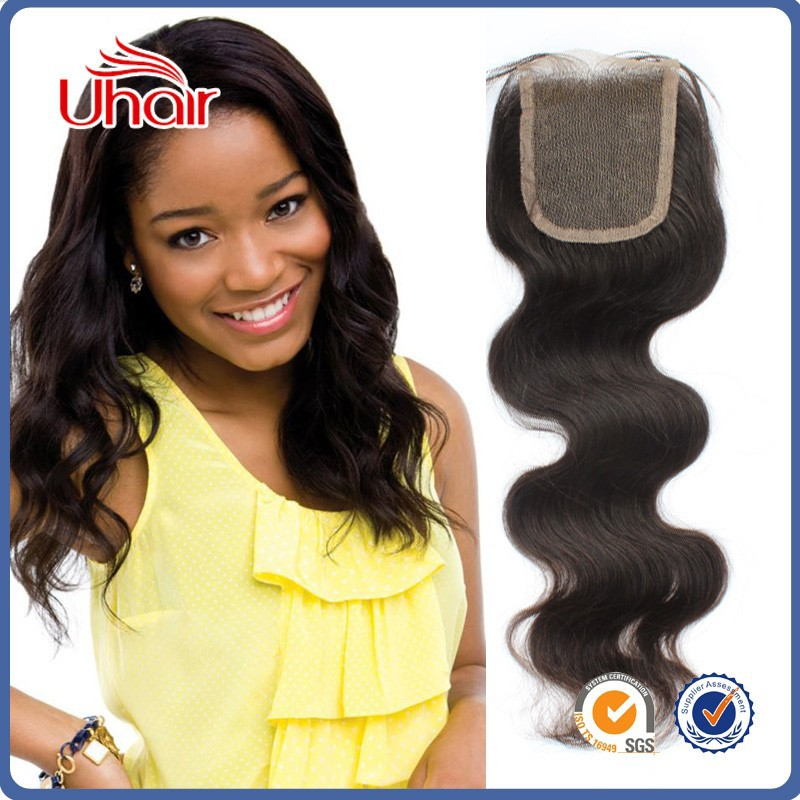 Uhair Brazilian Lace Closure Free Middle 3 Part Lace Closure Bleached Knots Body Wave Human Hair 4X4 Top Lace Frontal Closure