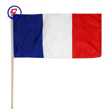 France flag and banner printed high quality pe hand waving flag football fan hand flag