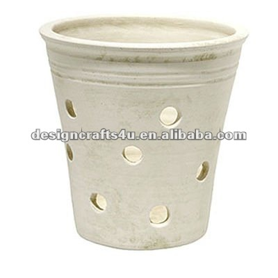 white clay orchid flower pots