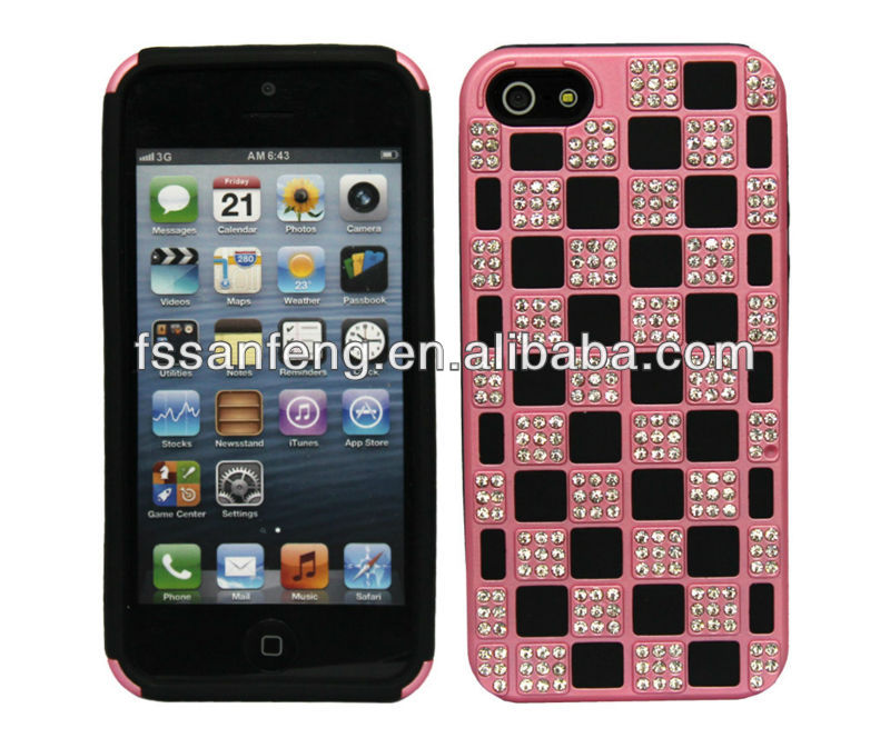 Deluxe hybrid square diamond case for iphone5 5g,rhinestone diamond case for iphone5,for iphone5 diamond case