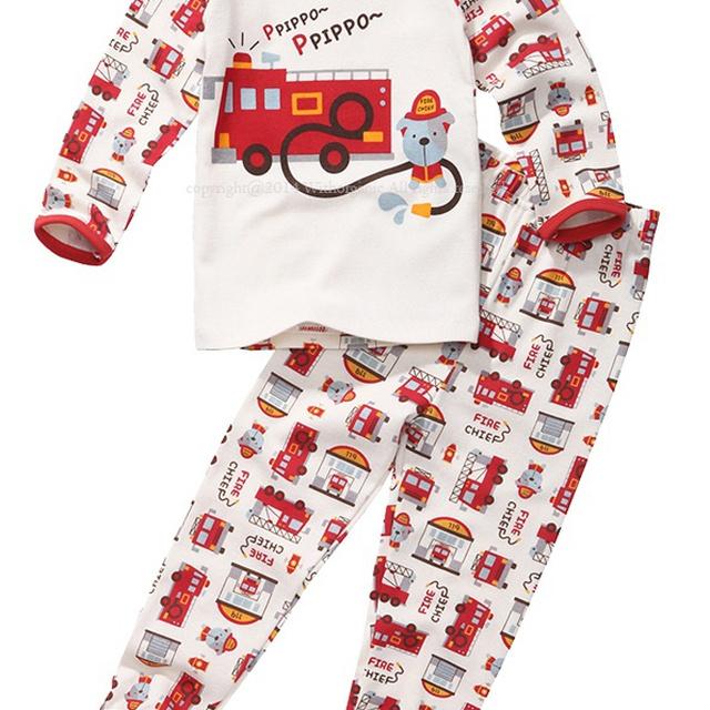 Organic cotton 100% boy slim sleepwear pajamas kids underwear pipo fire trucks