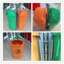 50Liter street bin with metal stand green dustbin waste container with key lock