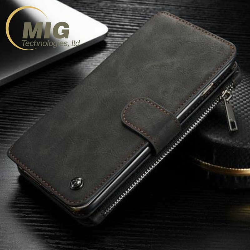 2016 Hot sale real Leather case with card holder for Samsung Galaxy Note 7 zipper wallet stand cell phone hard PC cover inside