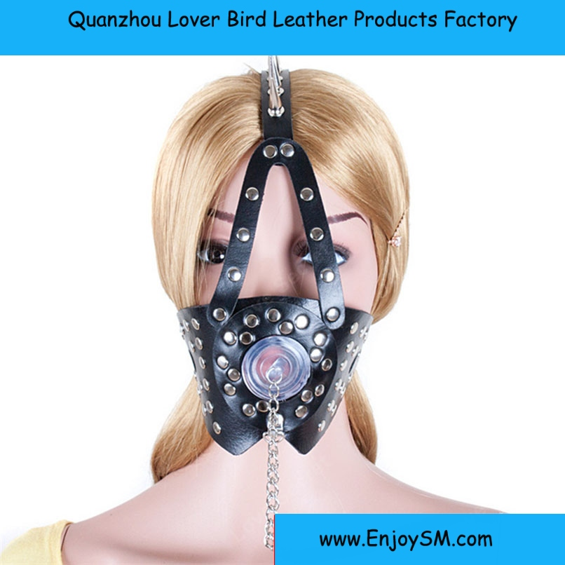 Japanese Black PU Leather Harness Muzzle with Cover Adult Games Roleplay Slave sex bondage restraint Fetish Fantasy Blowjob Sex