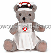 personalized logo imprinted custom mascot beanbag plush soft stuffed bear in a nurse uniform shirt dress bandana t-shirt bib731