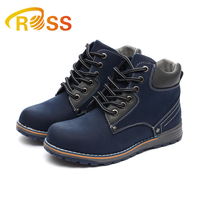 Comfortable navy lace-up boy anti-skiding casual shoes