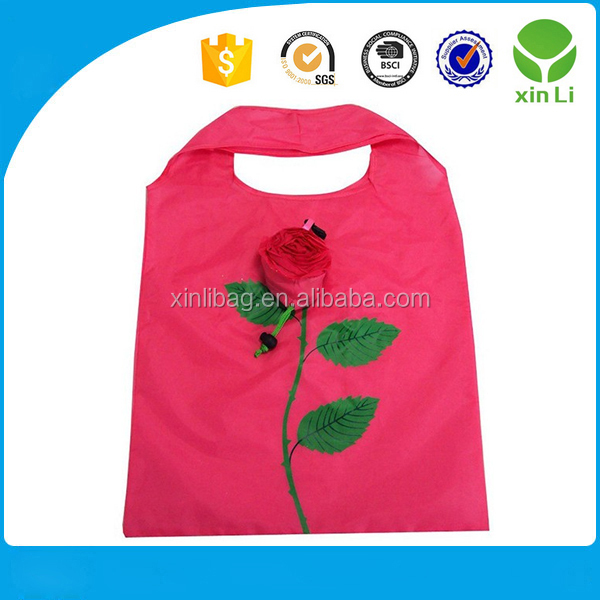 Wholesale cute design rose tote nylon extra large shopping bag