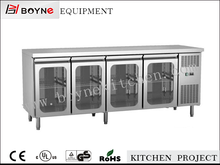 4 Glass Door Stainless Steel Restaurant Refrigerated Equipment Table Top Salad Bar