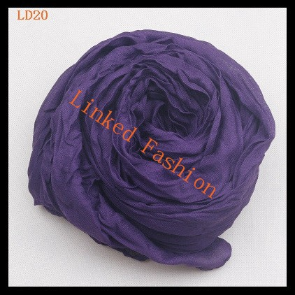 Winter Women Soft Voile Scarf Candy Color Warm Crinkle solid scarf