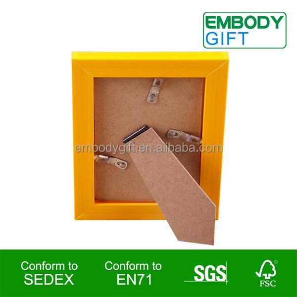 Amarelo de madeira photo frame de retrato para decoração