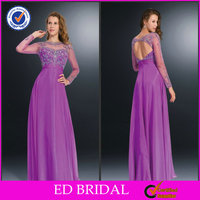 2014 OEM Factory Taffeta Beaded Long Sleeve Illusion High Neck Tank Back Prom Dresses