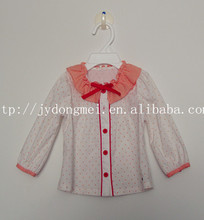 Fashion baby girl long 100% cotton woven sleeve dots and embroidered shirt for Autumn