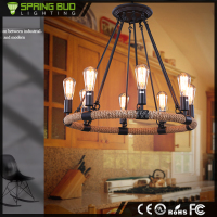 Wrought Iron brown 8 lights low ceiling lamp country style vintage industrial used commercial rattan chandeliers lighting