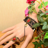 Factory charms metal wholesale FC-03 Red diamond Alloy nail bracelet and rings set