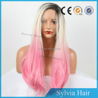 Heat Resistant Natural Hairline Long Straight Dark Root/ Blonde /Pink Three Tone Ombre Best Synthetic Lace Front Wigs