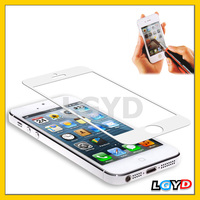 professional 0.4mm Tempered Glass Screen Guard / Protective Skin with 1 x Button Sticker for iPhone 5 & 5S (White)