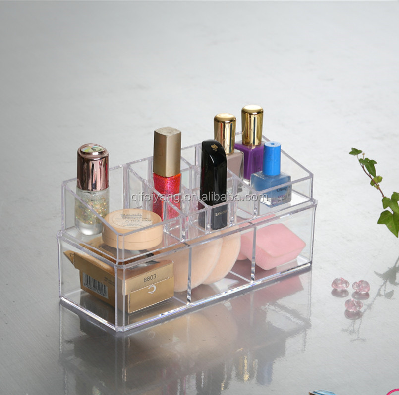 clear acrylic cosmetic Storage box for makeup retails store display organizer