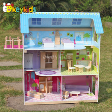 2016 wholesale wooden doll house, lovely wooden doll house, popular wooden doll house W06A104