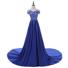 Lace Appliques Tulle Crystal Beaded Blue Long Plus Size Prom Dresses