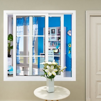 Upvc plastic french sliding window with mosquito net