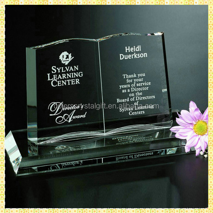 Customized Engraving Book Crystal Graduation Gifts For Teacher Souvenirs