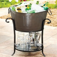 Metal Party Tub with Stand Ice Bucket Beverage Party Tub