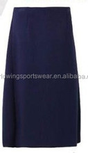 Ladies' polyester denim navy long skirt