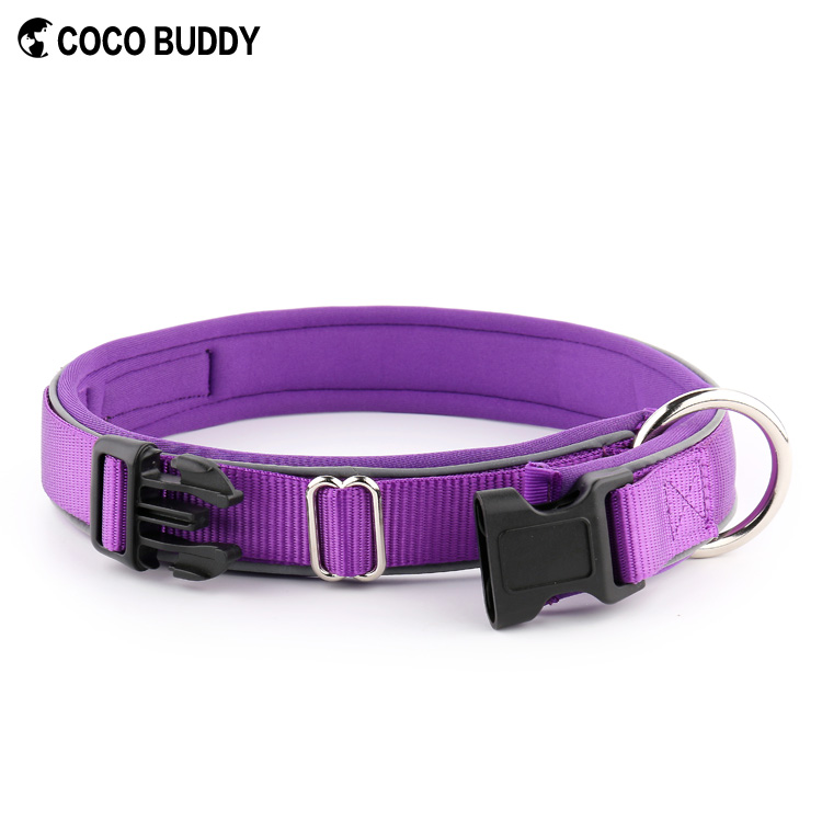 Purple color pet dog training collars with neoprene padded soft wholesale
