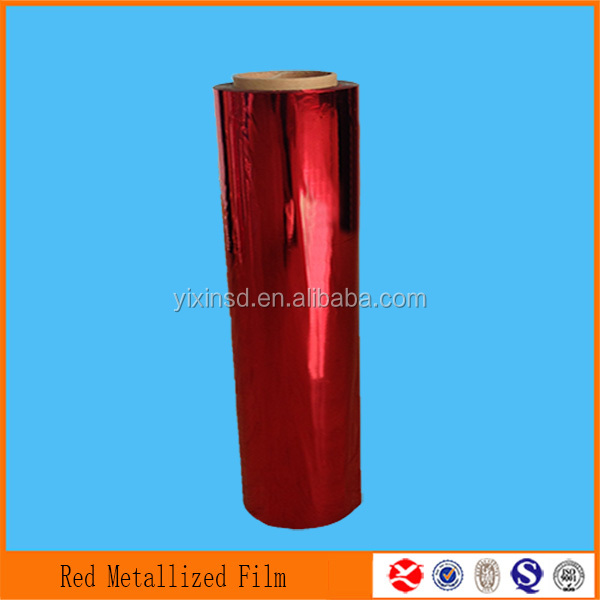 high quality 12mic red food vacum skin metallized packaging PET film feature manufacturer