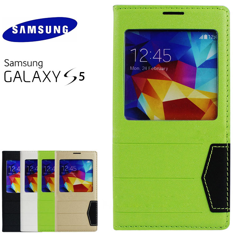 Simple Big window style leather case for samsung S5,case for samsung galaxy