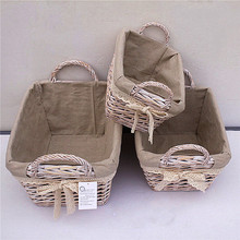 Linyi factory supply willow wicker tray with ear handle