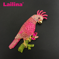 Womens Gold Tone Pink Rhinestones Tropical Parrot Cockatoo Bird Brooch Pin