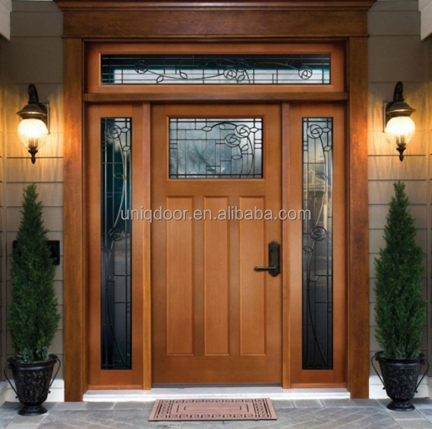 Contemporary exterior fancy wood window entry door with 2 side lites top transom