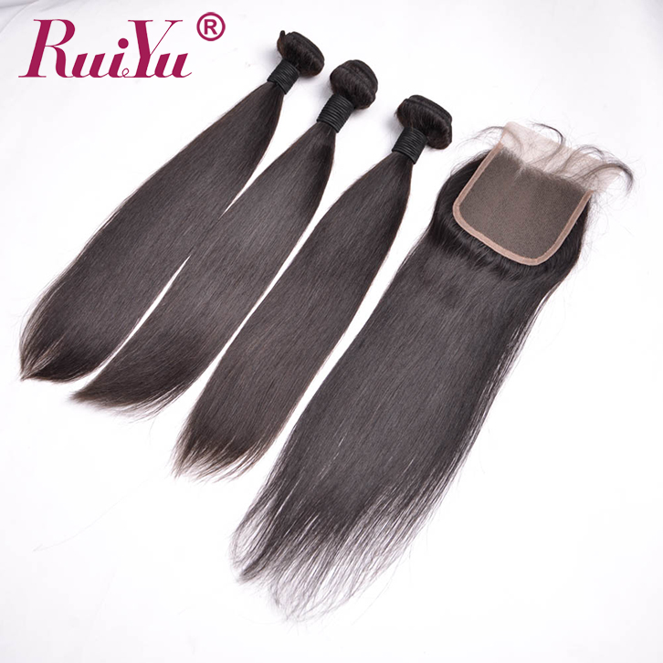 brazilian virgin straight human hair bundles with closure