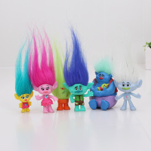 Wholesale 2017 most popular cartoon movie action figure in America 6pcs/set pvc collectible dolls trolls action figures toys