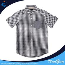 Custom design Designer fashionable checked new style boys shirts