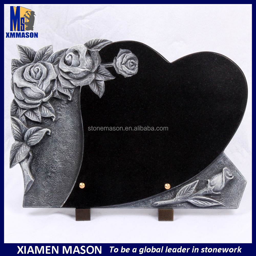 Etching rose double heart tombstone with black granite headstones