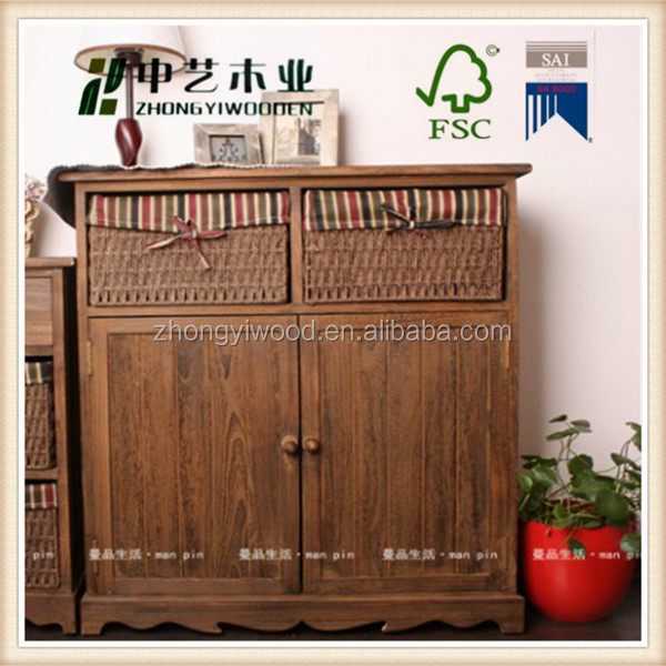 Fashion manufacturers wood cabinet distressed pine wooden furniture