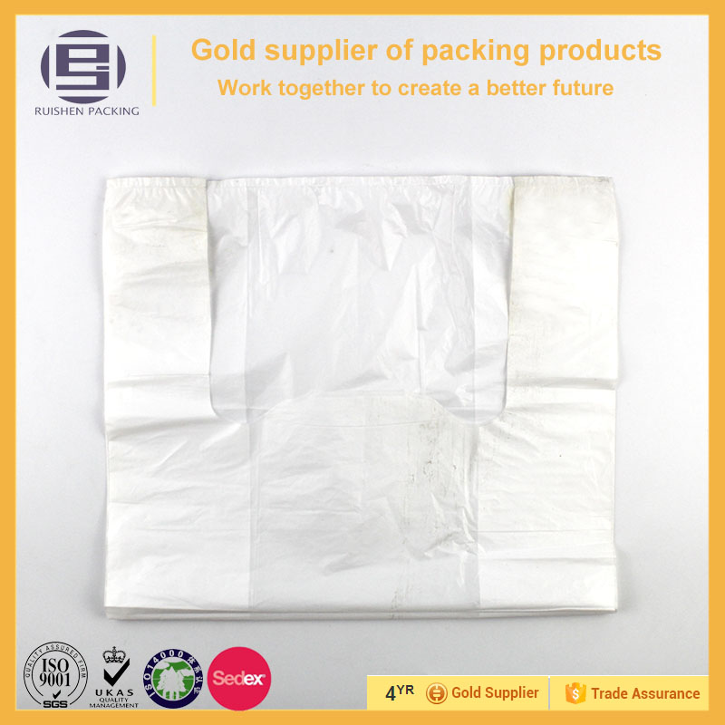 Eco-friendly white transparent plastic vest carrier bag without printed