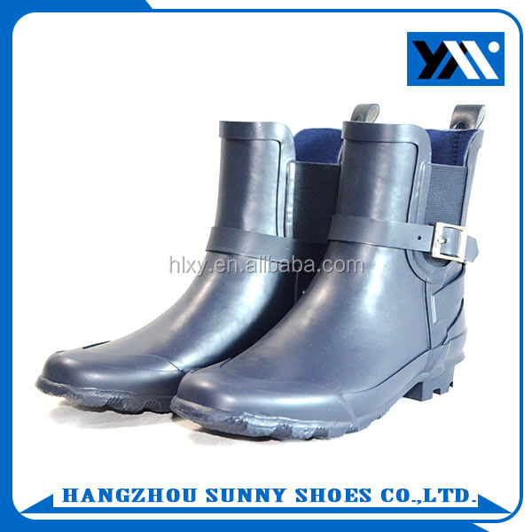 OEM Cheap Price Women Blue Solid Safety Shoes Ankle Rubber Rain Boots