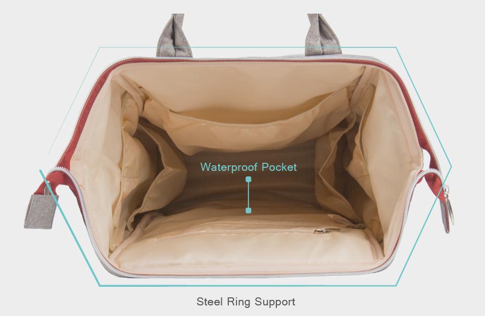 Lekebaby Diaper Bag Backpack Baby bag Built in Steel Ring Support ...