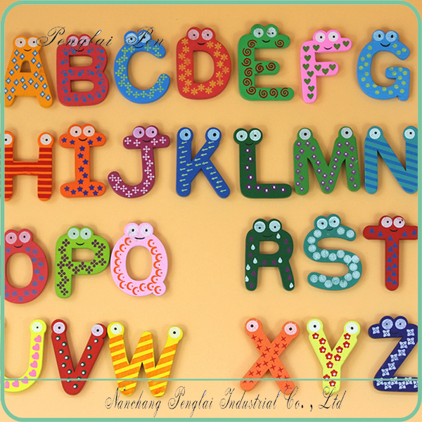 2017 Cartoon 26 alphabets fridge magnet wooden letters shape fridge magnet