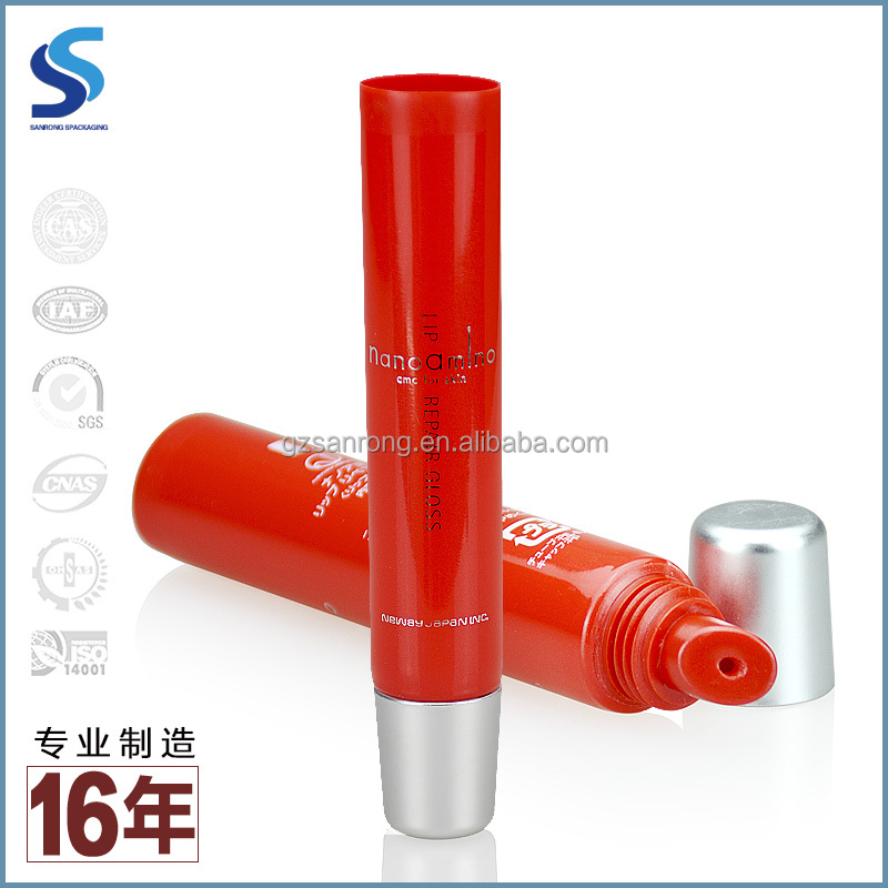 Sanrong 19mm diameter empty balm stick packaging tube PE material hot red color slant tip lip collapsible tube with metal cap