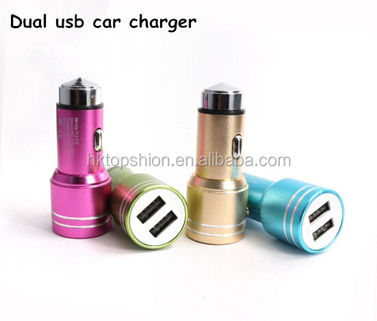 OEM Metal Tablet/Mobile Phone Dual Usb Car Charger 5V 2.4A, Mini Portable Car Battery Charger, Dual Usb Car Charger adapter