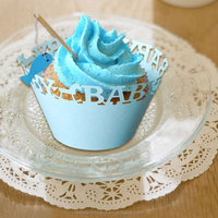 Customized laser cut cupcake wrapper blue baby shower decoration cupcake wrappers