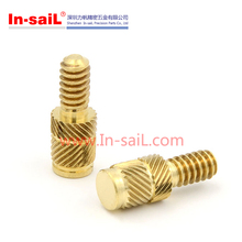 China fastener online shopping Model QT ROHS brass knurled thumb insert screws for plastic