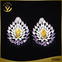 High end handmade imitation kundan jewellery topaz gemstone earrings