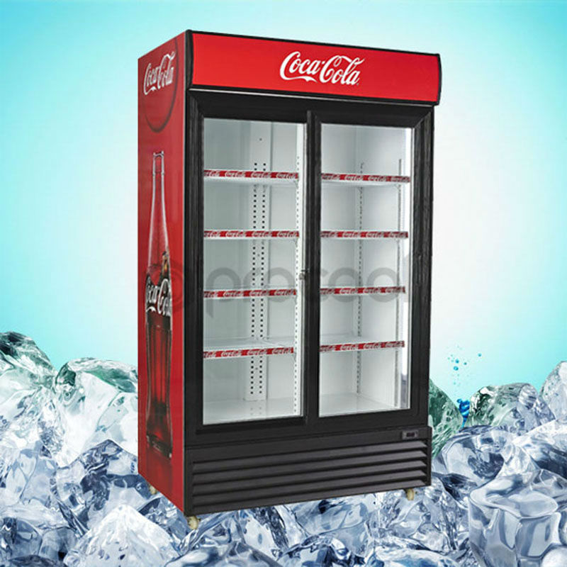 PROCOOL commercial refrigerator 1400L double sliding door beverage glass door merchandiser