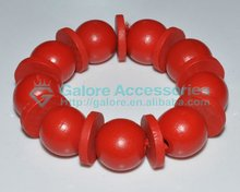 2013 beaded red color wood wrist rosary bracelet