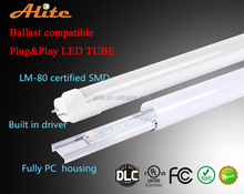 High quality plug play compatible 10w 15w 20w 22w 25w 27w CE/EMC/Tuv/UL/Cul/Dlc led tube